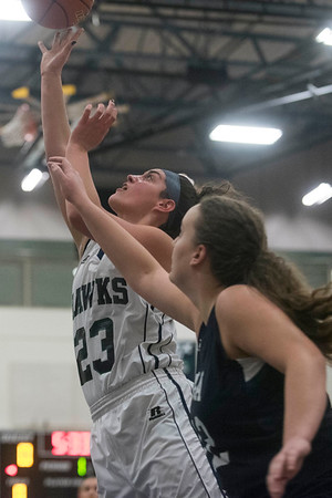 Essex Tech's Sydney Noyes shoots the ball as Presentation of Mary Academy'sCamille Holleran attempts to stop her on defense in their game at Essex Tech. Essex Tech won the game 52-25. 1/17/17