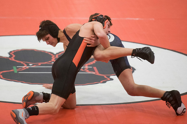 Beverly's Casey Silva wrestles Marblehead-Swampscott's Stephen Ratner in the 132 pound bout in their meet at Beverly High School. 1/18/17