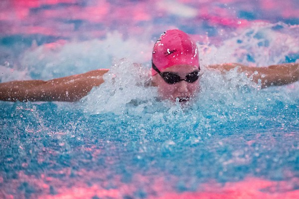 SAM GORESH/Staff photo. Marblehead's Ellie Ronan does the butterfly in the 200 yard medley relay in their meet against Beverly at the Lynn van Otterloo YMCA. 1/10/17