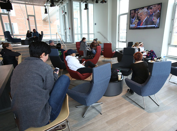 Salem State University had a watch party to view the Inauguration on television on the first floor of Viking Hall