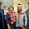 "NICOLAS TANNER/Photo.     From left to right, Director of the Beverly Historical Society Sue Goganian of Boston, Joanne Kelleher of Beverly, Joe Kelleher of Beverly, and Jason Branch of Beverly. At an exhibit called ""Chilly Business,"" which focuses on a local ice production business opens at the Beverly Historical Society in Beverly. 01/19/17"