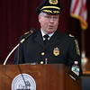 Peabody Police Chief Tom Griffin thanks his family and relatives during a brief speech after being sworn into office on Thursday afternoon inside the Wiggin Auditorium at Peabody City Hall. DAVID LE/Staff photo. 7/24/14.