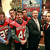 "Former Salem High School teammates Sean Stellato, a current NFL Agent, and Matt Bouchard, newly appointed Salem High football head coach right, with the Salem High School fall football captains Victor Claudio, Joey Byors, Glen Gard, and Genrri Rosario, at a gala and book signing for Stellato's new book ""No Backing Down"" a book on the 1994 Salem High School Super Bowl football team. DAVID LE/Staff photo. 7/11/14."