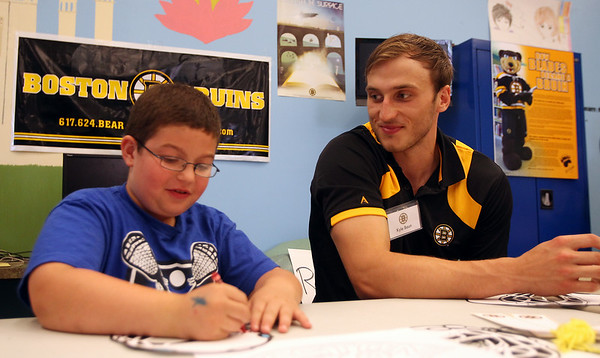 Boston Bruins prospect Kyle Baun chats with seven-year-old Tyler Giacalone, of Peabody, as they color in hockey masks during a visit to the Peabody Institute Library on Friday afternoon. DAVID LE/Staff photo. 7/11/14.