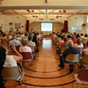 Beverly residents packed into the Beverly Senior Center for a meeting to discuss the current design for the new connector road between Sohier and Brimbal Avenues on Thursday evening. DAVID LE/Staff photo. 7/24/14.