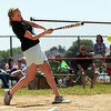 Salem shortstop Lindsey Tomasz makes contact in a charity softball game between Salem and Peabody City officials on Saturday morning. DAVID LE/Staff photo. 7/12/14.