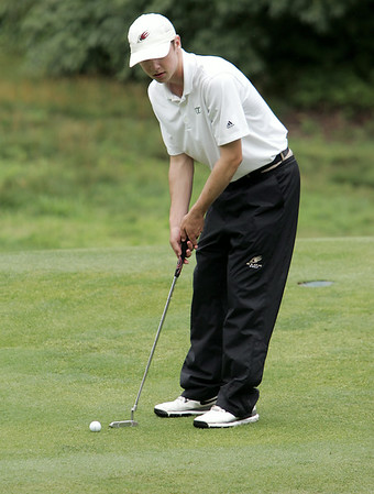 KEN YUSZKUS/Staff photo.   Charlie May readies to putt at the 13th hole. This was the third day of play at 106th Mass. Amateur golf championship at Kernwood Country Club in Salem. 7/16/14