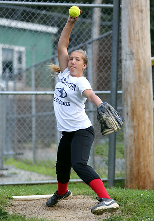 Peabody West pitcher Mallory LeBlanc. The Peabody West Softball All-Star team will look to make some noise in the upcoming Regional action in Orange, CT. DAVID LE/Staff photo. 7/28/14.