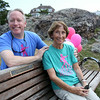 Adam Smith, and his mom Carol Smith, have been running a walk around Marblehead Neck for breast cancer every fall in Marblehead after Adam's wife Sara was diagnosed. Sara passed away, but the Smith's still hold the walk which on average draws around 500 people and this October 5th will mark the 9th annual walk. Adam and Carol Smith sit on a bench in Chandler Hovey Park named in Sara's honor. DAVID LE/Staff photo. 7/29/14.