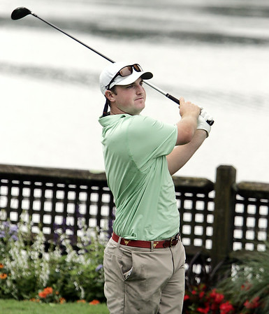 KEN YUSZKUS/Staff photo.  Jack Whelan hits off the 7th tee. This was the third day of play at 106th Mass. Amateur golf championship at Kernwood Country Club in Salem. 7/16/14