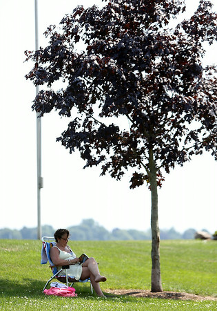 Kimberly Talbot, of Beverly, reads while sitting under the shade of a small tree at Dane Street Beach on Wednesday afternoon. DAVID LE/Staff photo. 7/23/14.