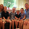 From left: The Fessenden family, Kamie, Drew, 10, Meghan, 8, Daniel, 2, Riley, 7, and Todd, inside their newly renovated playroom. With the help of 75 volunteers, a nonprofit called Special Spaces Boston, did a three-day makeover of the downstairs playroom for Riley Fessenden and her brothers and sisters. DAVID LE/Staff photo. 7/26/14.