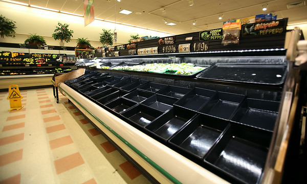 The meat and produce section of the Market Basket on Highland Ave in Salem was almost bare amidst the protest for the firing of Arthur Demoulas, former CEO of the company. DAVID LE/Staff photo. 7/21/14.
