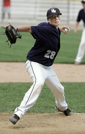KEN YUSZKUS/Staff photo. Hamilton Wenham's pitcher Will Jones on the mound during the Williamsport Little League District 15 tournament game against Hamilton-Wenham.  7/7/14