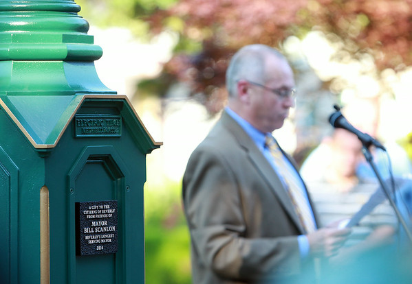 The plaque on the clock dedicated to former Beverly Mayor Bill Scanlon. DAVID LE/Staff photo. 7/9/14.