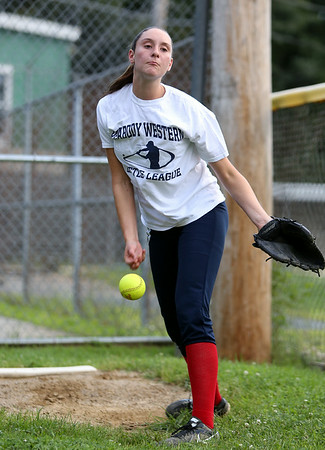 Peabody West pitcher Mikayla Porcaro. The Peabody West Softball All-Star team will look to make some noise in the upcoming Regional action in Orange, CT. DAVID LE/Staff photo. 7/28/14.