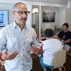 KEN YUSZKUS/Staff photo.  Mike Rozinsky is one of the co-founders of WorkTable in Marblehead.  7/10/15