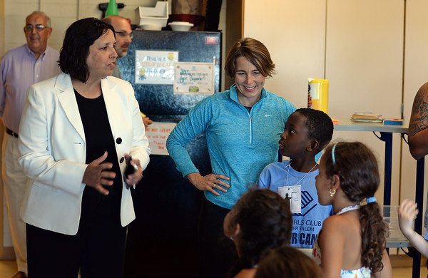 RYAN HUTTON/ Staff photo<br /> Attorney General Maura Healey, right, and Salem Mayor Kimberley Driscoll, left, meet some of the kids during a tour of the Boys & Girls Club of Greater Salem on Tuesday.