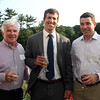 DAVID LE/Staff photo. From left, John Walsh, of John J. Walsh Insurance, Peter Hanson, of Hanson Group, and Adam Walsh, of John J. Walsh Insurance, at an after hours networking event held at the Salem Country Club in Peabody by the North Shore Chamber of Commerce. 7/20/16.