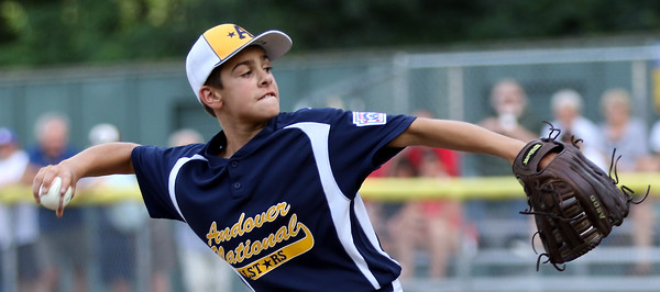 DAVID LE/Staff photo. Andover National starting pitcher Richie Shahtonian fires a pitch against Beverly. 7/21/16.