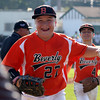 DAVID LE/Staff photo. Beverly first baseman Nick Fox flashes a wide smile while running back to the dugout following Beverly's 19-8 (4 innings) win over Fairhaven/Acushnet on Friday afternoon. 7/29/16.