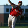 DAVID LE/Staff photo. Newburyport starting pitcher Steve Noyes fires a pitch against Middleton-Peabody on Tuesday evening. 7/19/16.