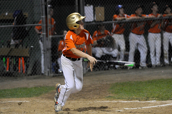 TIM JEAN/Staff photo<br /> Beverly's Joe Kotwicki watches the ball sail out of the park for a home run against Andover during the Section 4 Little League all-star championship game.  7/23/16