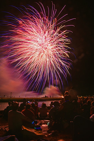Large crowds cram Derby Wharf to watch the 2016 July 4th fireworks.<br /> <br /> Photo by joebrownphotos.com