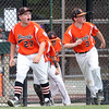 DAVID LE/Staff photo. Beverly's Nick Fox and Brennan Frost run to greet Joe Kotwicki at home plate following Kotwicki's 2-run homer against Pittsfield American on Thursday afternoon. 7/28/16.