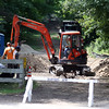 DAVID LE/Staff photo. Construction work to get the Danvers Dog Park finished has ran over schedule and the Town could potentially sue the contractor. 7/25/16.