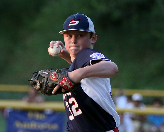 DAVID LE/Staff photo. Swampscott relief pitcher Dalton Juden picked up the win in the Big Blue's 10-7 win over Peabody West in the District 16 Championship on Friday evening. 7/15/16.