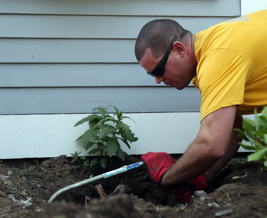 DAVID LE/Staff photo. Navy Seal QM1 Thomas Stanborn uses a hand saw to try and remove a tree stump from the ground next to the Girdler House on Lothrop Street in Beverly on Friday afternoon. 7/22/16.