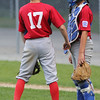 KEN YUSZKUS/Staff photo.   Boxford-Topsfield's Nick Cantalupo and catcher Erik Sabbach talk briefly on the field during the Boxford-Topsfield vs. Manchester Essex Little League playoff game at Harry Ball Field in Beverly.    07/11/16