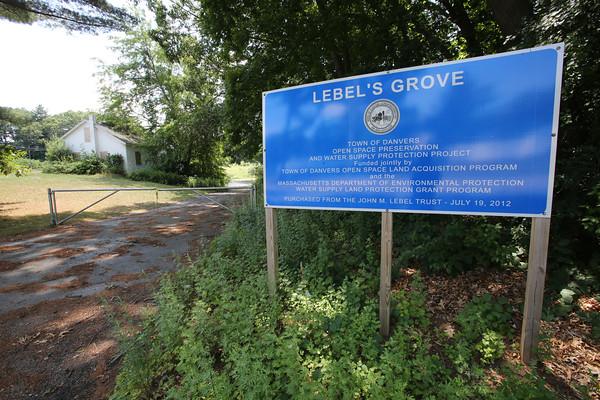 KEN YUSZKUS/Staff photo.   The Lebel's Grove sign in Danvers.   07/06/16
