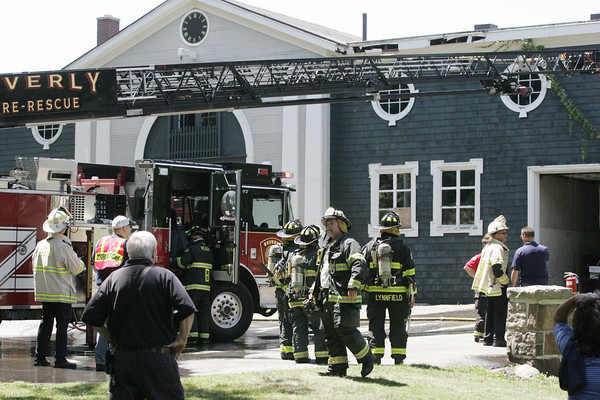 KEN YUSZKUS/Staff photo.  The fire scene at the carriage house at Lynch Beach in Beverly.   07/04/16