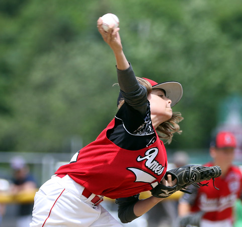 DAVID LE/Staff photo. Amesbury pitcher Shea Cucinutta fires a pitch. 7/2/16.