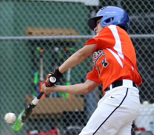 DAVID LE/Staff photo. Beverly's Joe Brown lines a screaming single to centerfield off Masco starting pitcher Nick Cantalupo. 7/8/16.