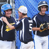 CARL RUSSO/Staff photo. Andover Nationals catch, Owen Christopher is congratulated at home plate after hitting a home run. Andover defeated Woburn 16-6 in Little League action. 7/20/2016