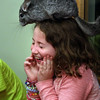 KEN YUSZKUS/Staff photo.    Wally the chinchilla sits on Emma Barry's head. Wally was one of Curious Creatures' presentation at the Peabody Institute Library.    07/07/16