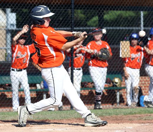 DAVID LE/Staff photo. Beverly's Joey Loreti ropes a double against Fairhaven/Acushnet on Friday afternoon. 7/29/16.