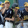 CARL RUSSO/Staff photo. Andover National, Nick Saunders is congratulated by his teammates after hitting a home run. Andover defeated Woburn 16-6 in Little League action. 7/20/2016