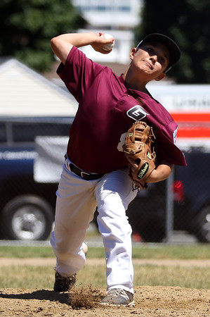 DAVID LE/Staff photo. Gloucester starting pitcher Jack Costanzo fires a pitch against Masco. 7/2/16.