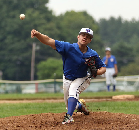 DAVID LE/Staff photo. Peabody's Jake Zeuli fires a pitch against Swampscott/Marblehead on Monday evening. 7/18/16.