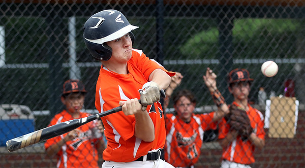 DAVID LE/Staff photo. Beverly's Joey Loreti launches a homer against Pittsfield American on Thursday afternoon. 7/28/16.