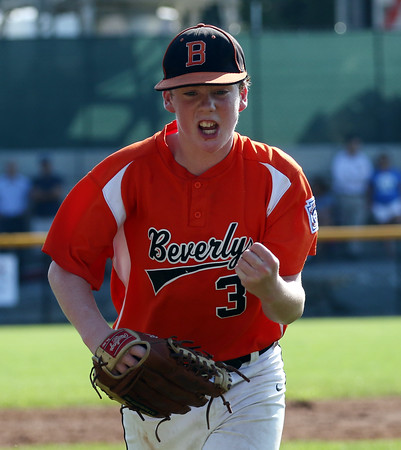 DAVID LE/Staff photo. Beverly relief pitcher Brennan Frost pumps his fist after getting out of the 3rd inning against Fairhaven/Acushnet. 7/29/16.