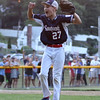 DAVID LE/Staff photo. Swampscott closer Mathew Schroeder reacts after getting the last out of the game. 7/15/16.
