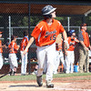 DAVID LE/Staff photo. Beverly slugger Joey Loreti watches the flight of his homer against Fairhaven/Acushnet on Friday afternoon. 7/29/16.