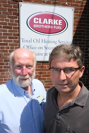 KEN YUSZKUS/Staff photo.   Bill Scott, Scott Energy President, left, and Tim Clarke, of Clark Bros. Fuel, talk about Scott Energy Co. acquiring Clarke Bros. Fuel Heating Oil Business    07/13/16