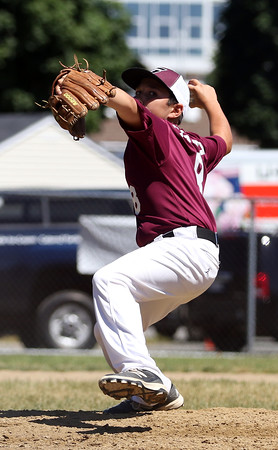 DAVID LE/Staff photo. Gloucester's Jack Costanzo fires a pitch against Masco on Saturday morning. 7/2/16.
