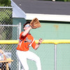 DAVID LE/Staff photo. Beverly center fielder Charlie Mack hauls in a fly ball against Andover National. 7/21/16.